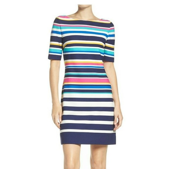 Eliza J Dresses & Skirts - Eliza J Rainbow Colored Striped Sheath Dress